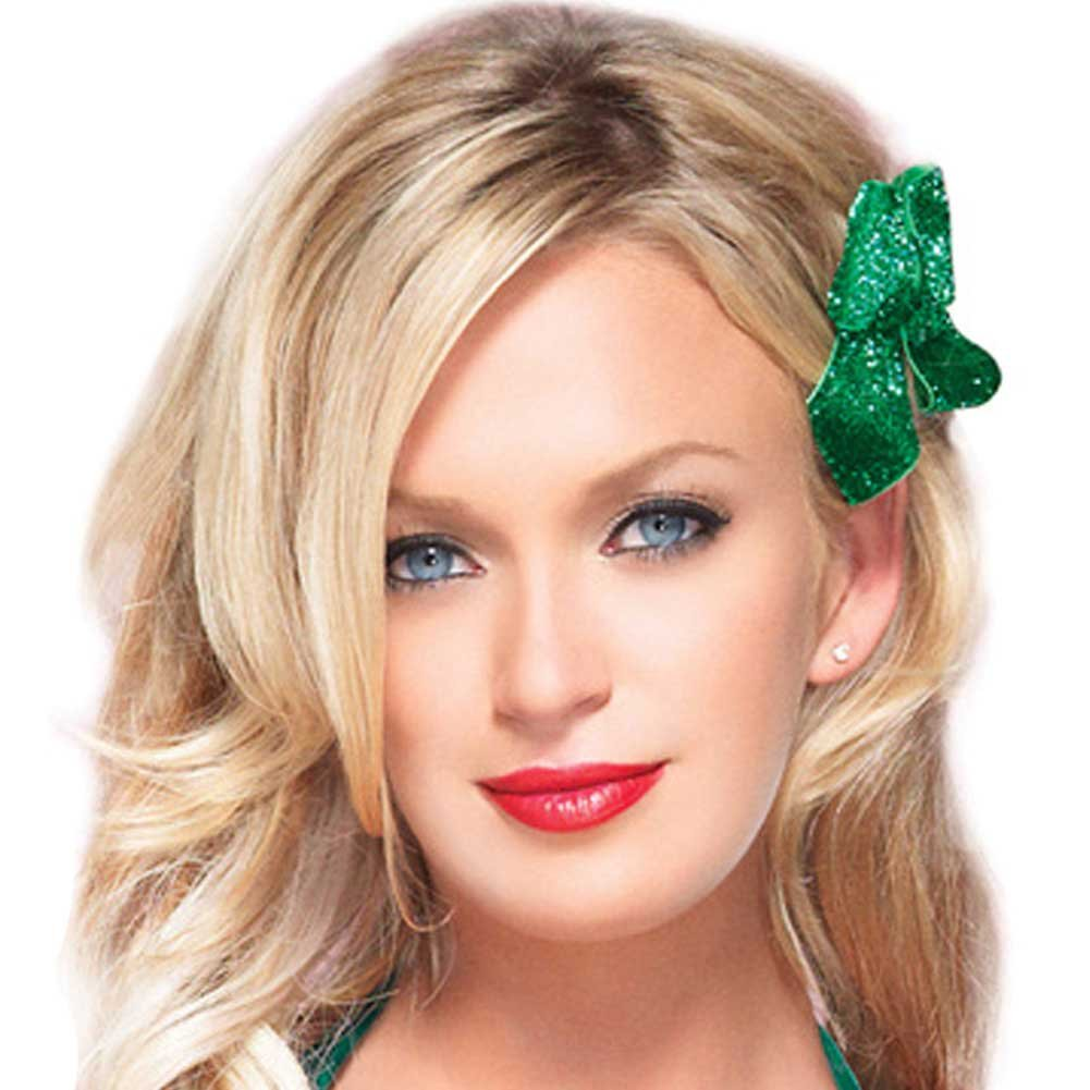 Leg Avenue Glitter Hair Bows Green Set of 3 - View #1