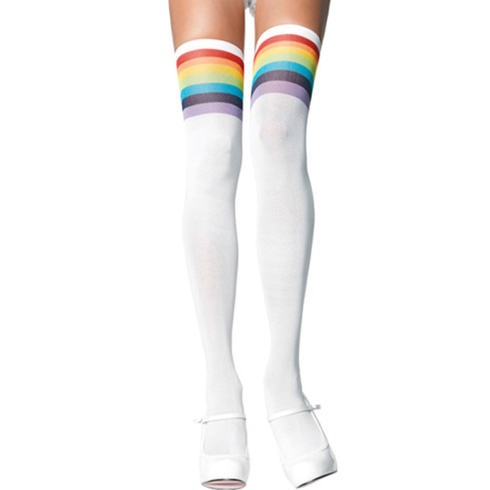 Over The Rainbow Opaque Thigh Highs One Size - View #1