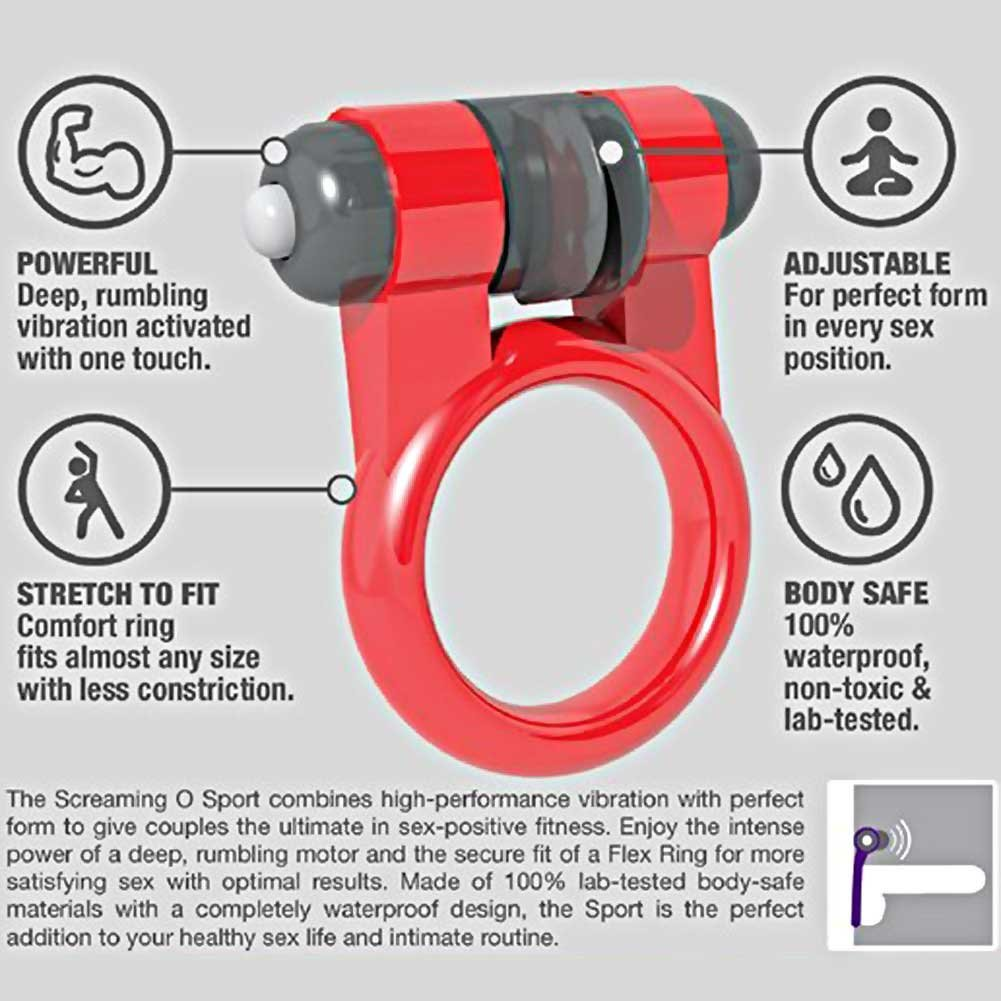 Screaming O Sport Vibrating Cock Ring for Men Red - View #1