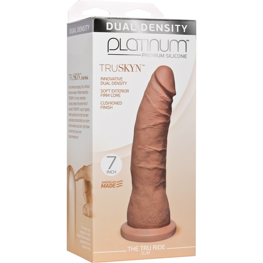 "Doc Johnson Platinum Truskyn Tru Ride Slim Dildo 7"" Caramel - View #1"