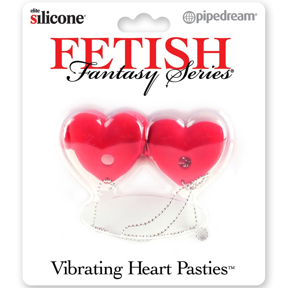 Fetish Fantasy Series Vibrating Heart Pasties Red - View #3