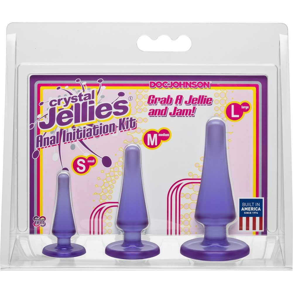 Doc Johnson Crystal Jellies Anal Initiation Kit with 3 Butt Plugs Purple - View #1