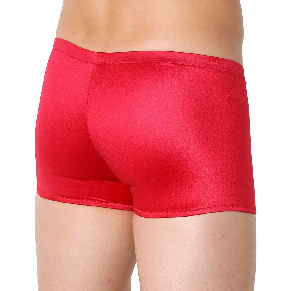 Male Power Satin Pouch Short Small Red - View #2