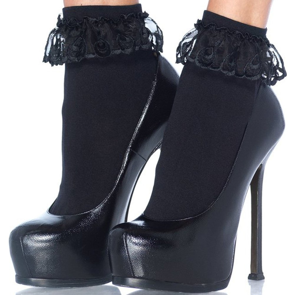 Leg Avenue Anklet With Lace Ruffle One Size Black - View #2