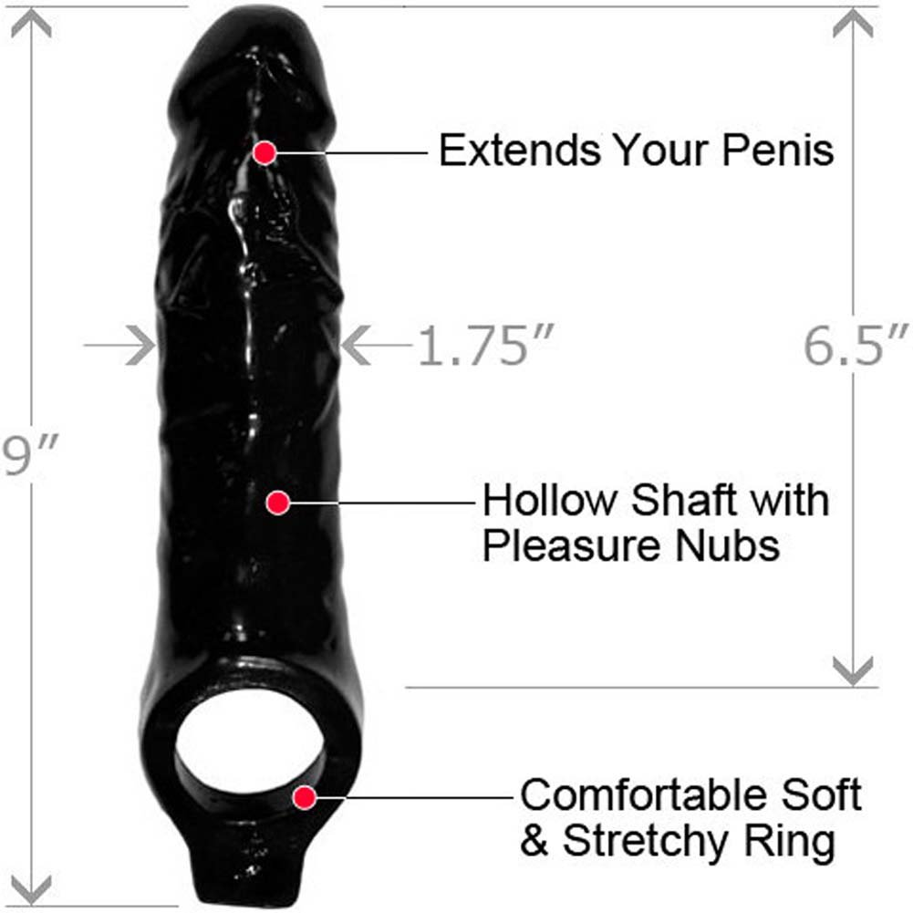 "Mamba Cock Sheath Penis Extender 9"" Black - View #1"